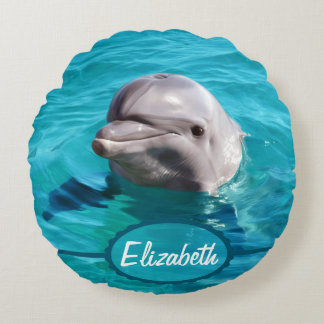 Dolphin in Blue Water Photo Round Cushion