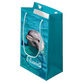 Dolphin in Blue Water Photo Small Gift Bag
