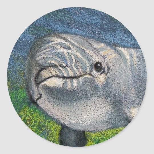 DOLPHIN IN COLOR PENCIL ROUND STICKER