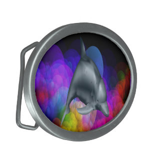 Dolphin In Colored Water Belt Buckle