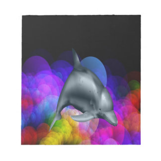 Dolphin In Colored Water Notepad