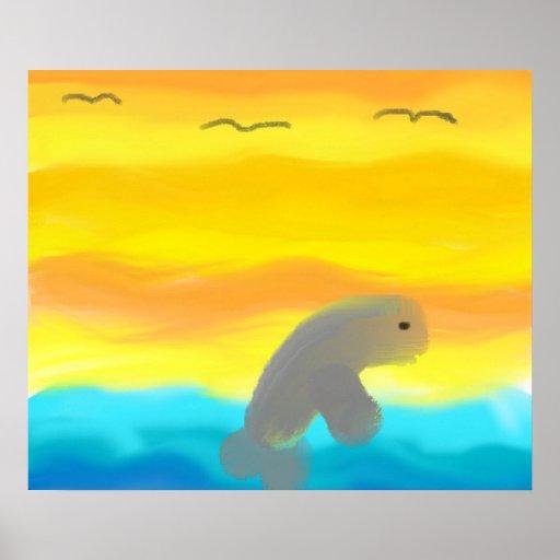 Dolphin In Flight Print Print