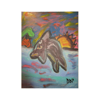 Dolphin in Sunset Wood Poster