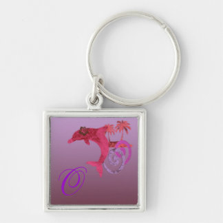 Dolphin Island Pink, Lilac, and Red Monogram Keych Silver-Colored Square Key Ring