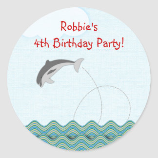 Dolphin Jumping For Joy Personalized Round Sticker