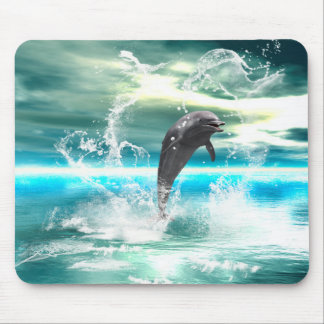 Dolphin jumping in the sea with waves as heart mouse pads