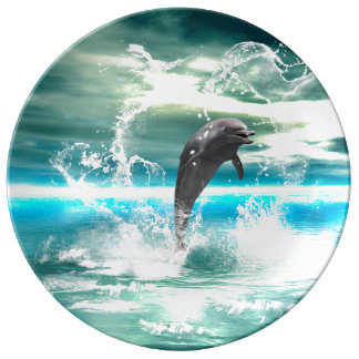 Dolphin jumping in the sea with waves as heart plate