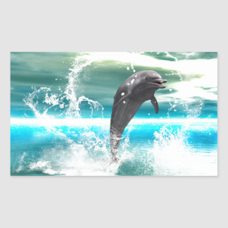 Dolphin jumping in the sea with waves as heart rectangular sticker