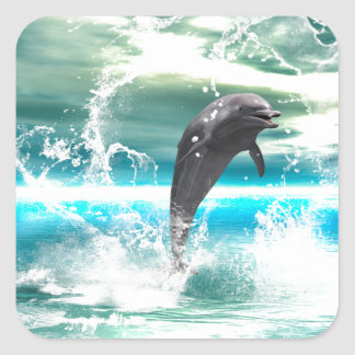 Dolphin jumping in the sea with waves as heart sticker