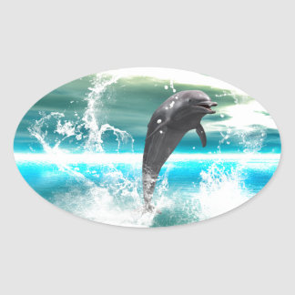 Dolphin jumping in the sea with waves as heart stickers