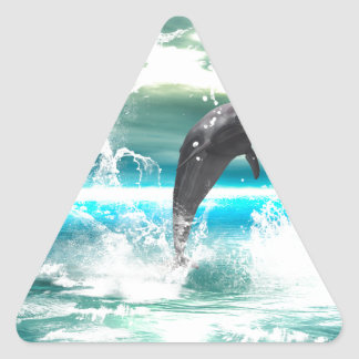Dolphin jumping in the sea with waves as heart triangle sticker
