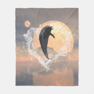 Dolphin jumping out of a heart made of water fleece blanket