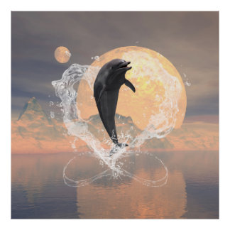 Dolphin jumping out of a heart made of water poster