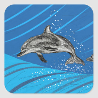 Dolphin Jumping out of the Blue sea Square Sticker
