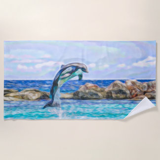 Dolphin Jumping Out of the Water Fractal Art Beach Towel