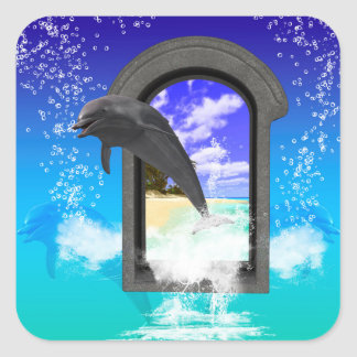 Dolphin jumping square sticker