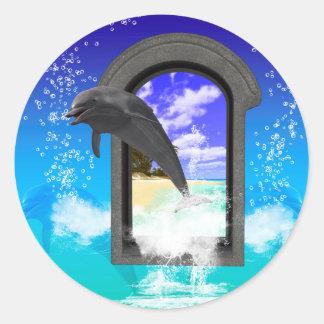 Dolphin jumping round sticker