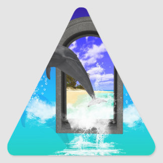 Dolphin jumping triangle sticker