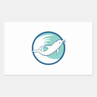 Dolphin Jumping Waves Circle Retro Rectangular Stickers