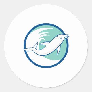 Dolphin Jumping Waves Circle Retro Round Sticker