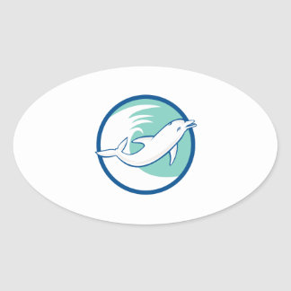 Dolphin Jumping Waves Circle Retro Oval Stickers