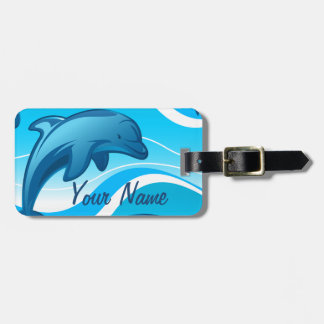 Dolphin jumping waves luggage tag