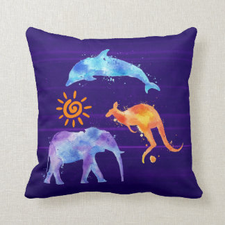 Dolphin Kangaroo and Elephant Watercolor Cushion