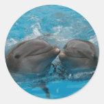 Dolphin Kiss Round Sticker