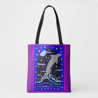 Dolphin `Leap for the stars' Full Print Tote Bag