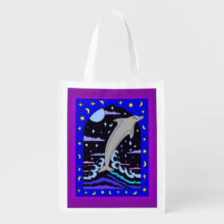 Dolphin `Leap for the stars' Reusable Grocery Bag