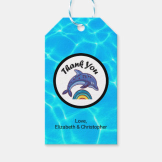 Dolphin Leaping Over A Rainbow Thank You Gift Tags