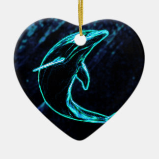 Dolphin (Light Dolphin) Ceramic Heart Decoration