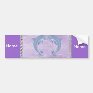 DOLPHIN LOVER GIFT PURPLE BACKGROUNDS BUMPER STICKERS