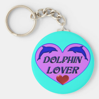Dolphin Lover Basic Round Button Key Ring