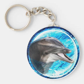 Dolphin magnet basic round button key ring