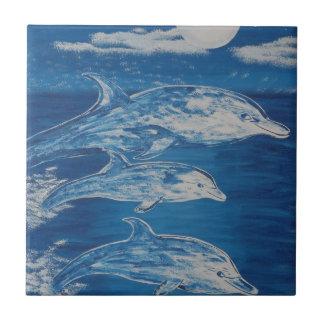 Dolphin Midnight Swim Small Square Tile