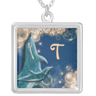 Dolphin monogram blue square pendant necklace