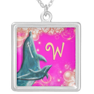 Dolphin monogram girly pink square pendant necklace