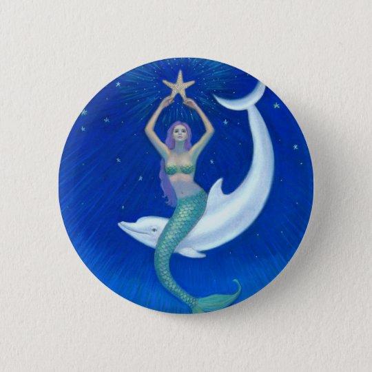 Dolphin Moon Mermaid 6 Cm Round Badge