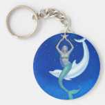 Dolphin Moon Mermaid Basic Round Button Key Ring