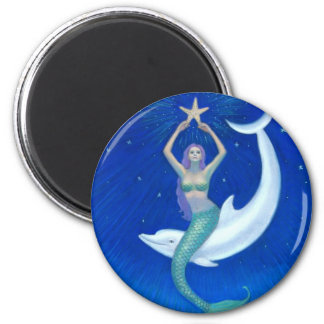 Dolphin Moon Mermaid 6 Cm Round Magnet