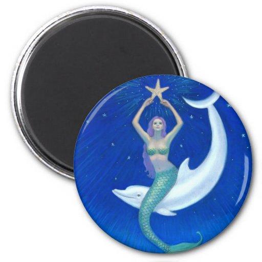 Dolphin Moon Mermaid Fridge Magnets