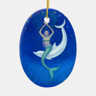 Dolphin Moon Mermaid Oval Christmas Ornament