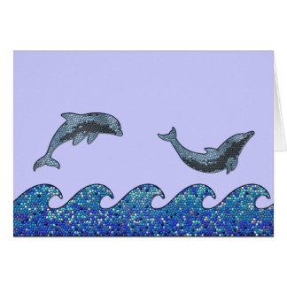 dolphin mosaic card