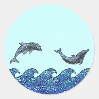 dolphin mosaic round sticker