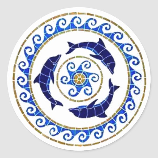 Dolphin - Mosaic Tile Classic Round Sticker