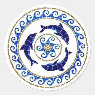 Dolphin - Mosaic Tile Round Sticker