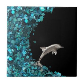 Dolphin On Blue Wave tile