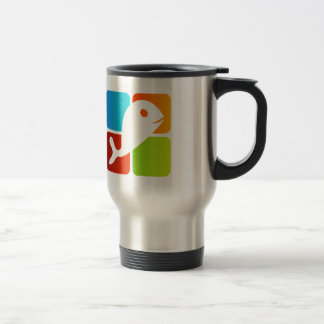 Dolphin on colorful boxes travel mug