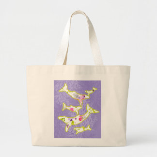 Dolphin on plain violet background. canvas bags